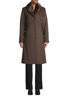 JONES NEW YORK Faux Fur-Trim Wool-Blend Coat