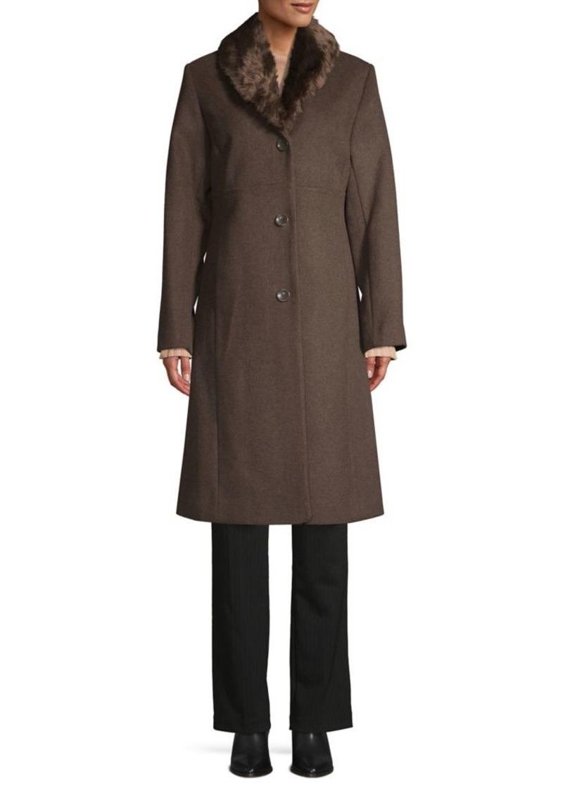 JONES NEW YORK Faux Fur-Trim Wool-Blend Coat