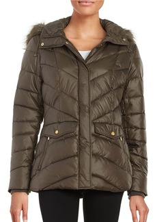 JONES NEW YORK Faux Fur-Trimmed Puffer Coat