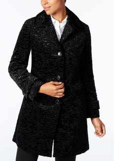 Jones New York Petite Textured Faux-Fur Coat