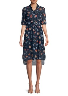 JONES NEW YORK Floral Button Front Shirt Dress