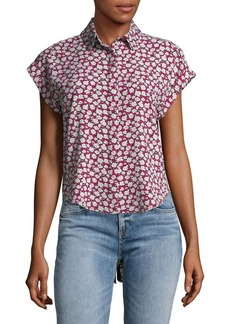 JONES NEW YORK Floral Hi-Lo Buttoned Top