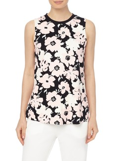 Jones New York Floral Print Sleeveless A-Line Top