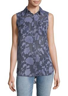 JONES NEW YORK Floral Sleeveless Button-Down Shirt
