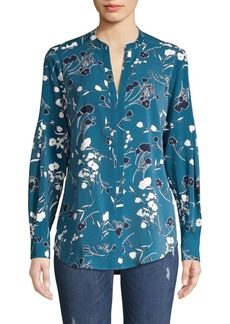 JONES NEW YORK Floral Split Neck Top