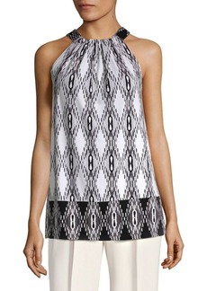 JONES NEW YORK Gathered Tie Neck Sleeveless Top