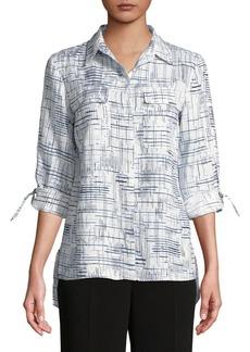 JONES NEW YORK Graphic Linen Button-Down Shirt