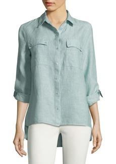 JONES NEW YORK Hi-Lo Linen Button-Down Shirt