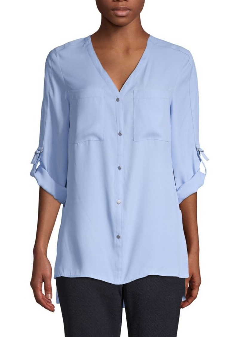 JONES NEW YORK High-Low Button-Front Top