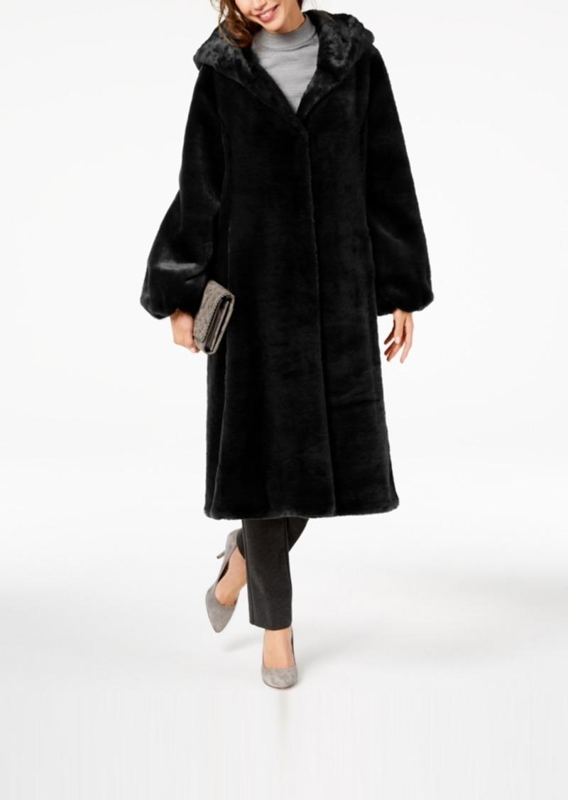 Jones New York Hooded Faux-Fur Maxi Coat