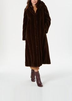 Jones New York Hooded Faux-Fur Maxi Coat