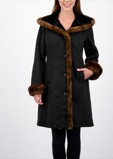 Jones New York Hooded Faux-Shearling Coat