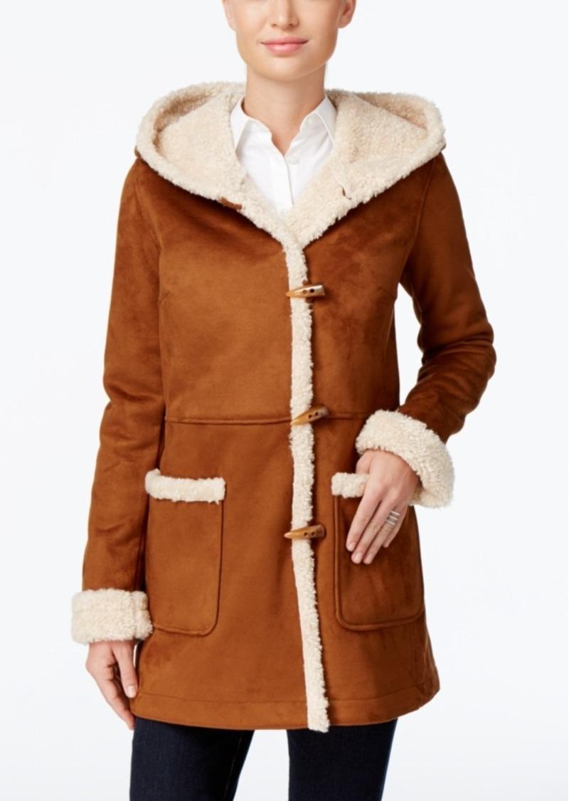 Jones New York Hooded Faux-Shearling Toggle Coat