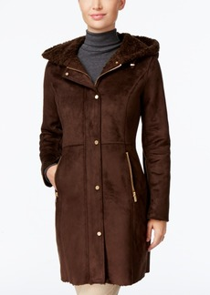 Jones New York Hooded Faux-Shearling Walker Coat