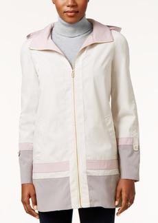 Jones New York Hooded Water-Resistant Colorblocked Raincoat