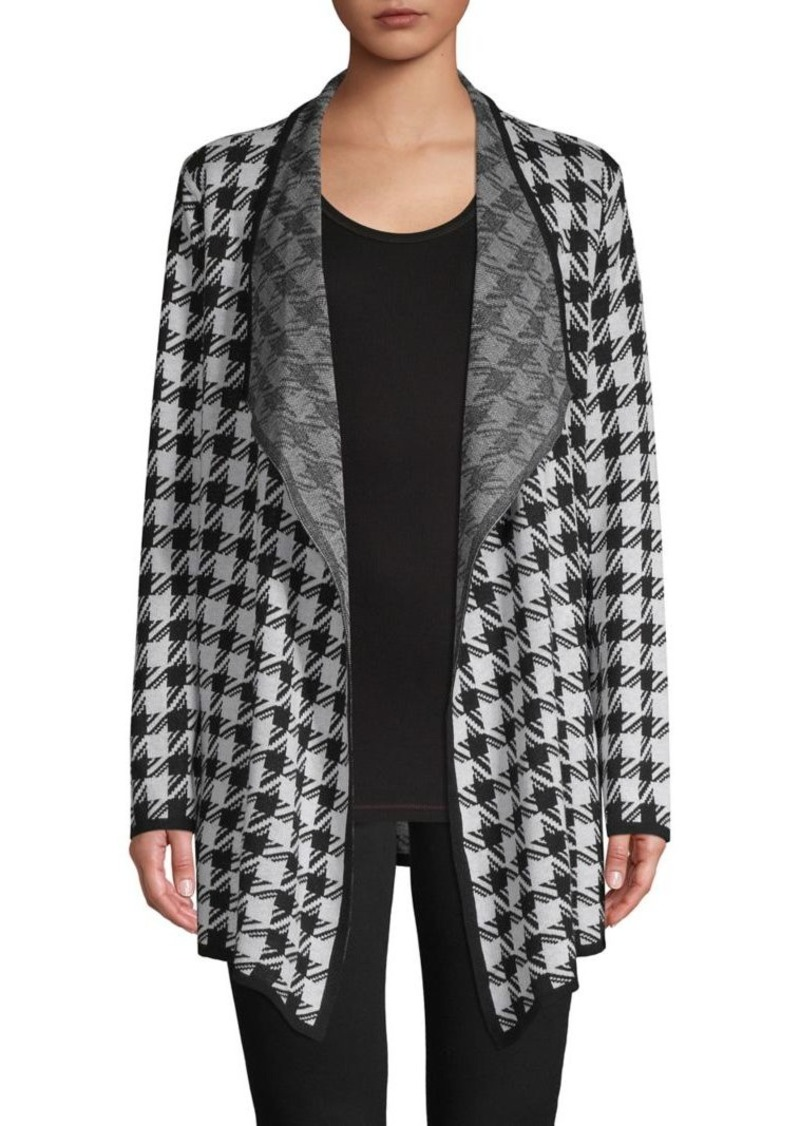 JONES NEW YORK Houndstooth Cotton-Blend Cardigan