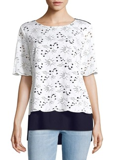 JONES NEW YORK Lace-Front Top