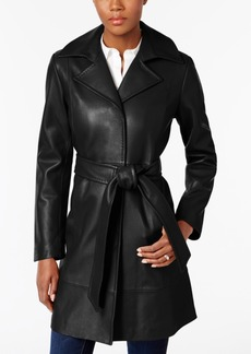 Jones New York Leather Belted Trench Coat
