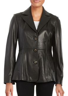 JONES NEW YORK Leather Button-Front Jacket