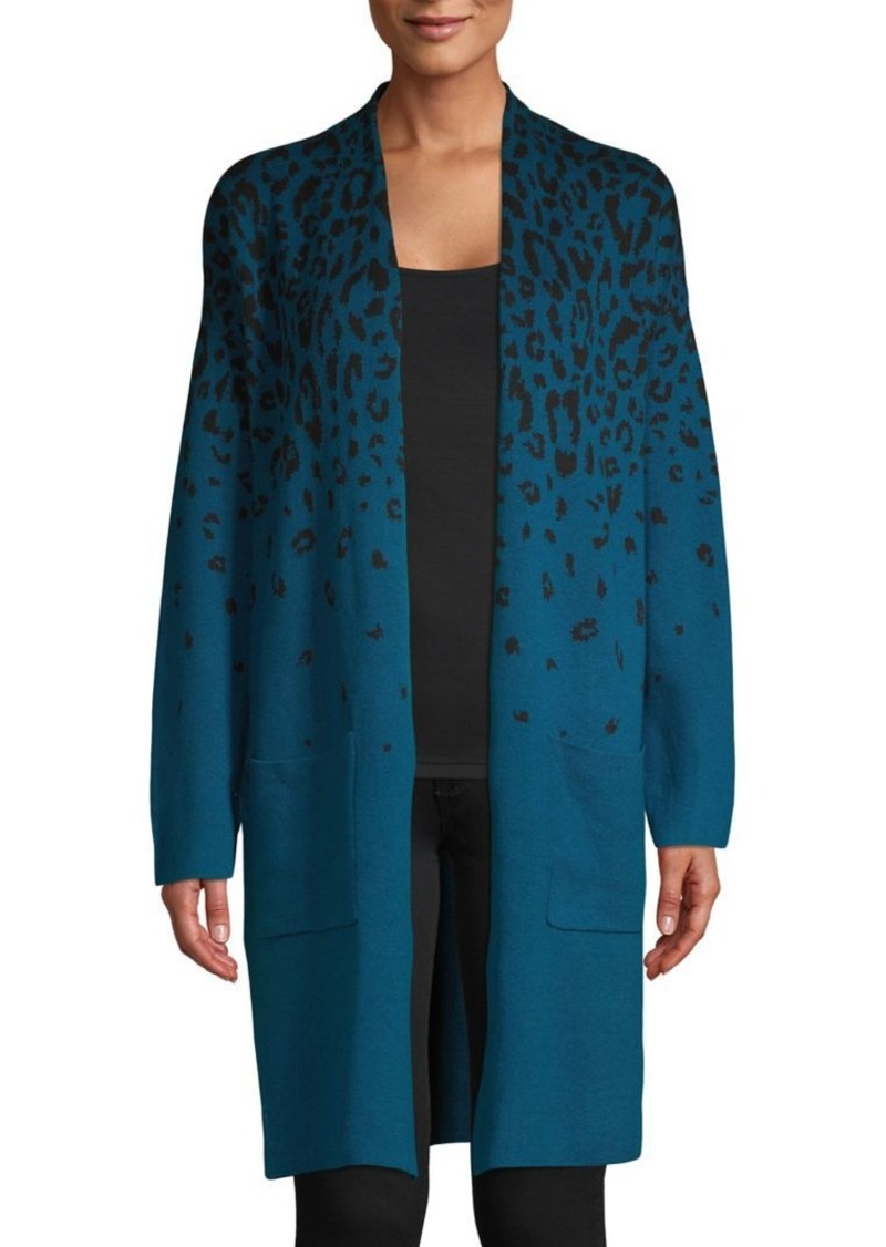 JONES NEW YORK Leopard-Print Cotton & Wool-Blend Cardigan