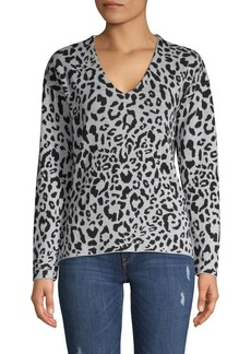 JONES NEW YORK Leopard-Print Cotton & Wool-Blend Top