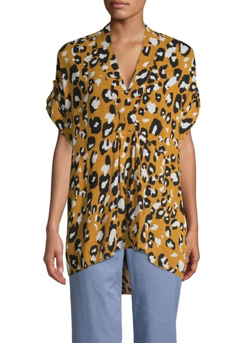 JONES NEW YORK Leopard-Print V-Neck Roll-Tab Empire Top