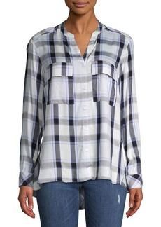 JONES NEW YORK Mixed-Media Plaid Button-Down Shirt