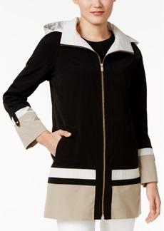 Jones New York Petite Hooded A-Line Colorblocked Raincoat