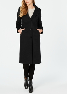 Jones New York Petite Single-Breasted Notch Collar Reefer Maxi Coat