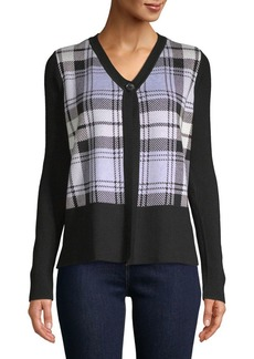 JONES NEW YORK Plaid Button Cardigan