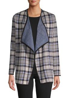 JONES NEW YORK Plaid Open-Front Jacket