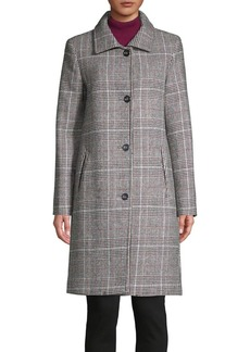 JONES NEW YORK Plaid Wool-Blend Coat