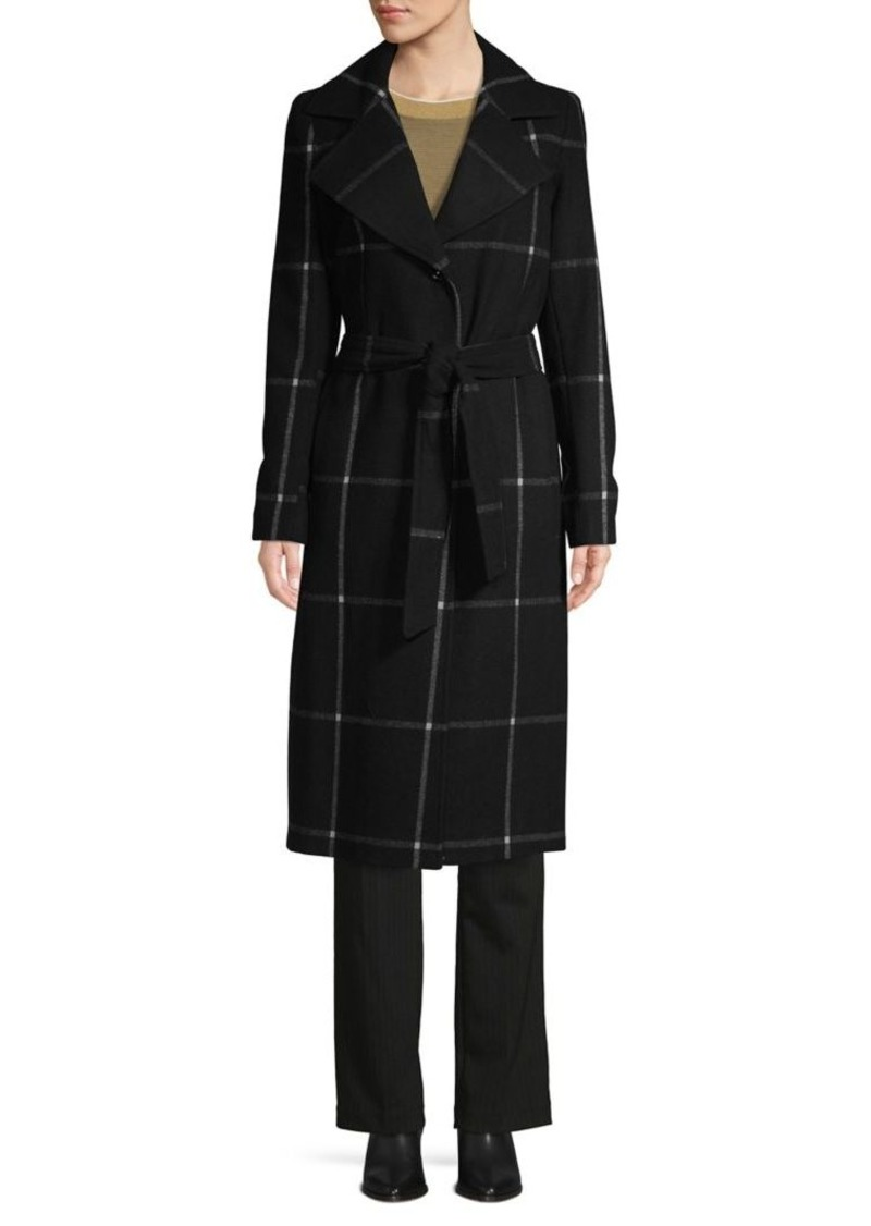JONES NEW YORK Plaid Wool-Blend Long Coat