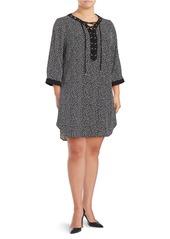JONES NEW YORK PLUS Plus Alpha Printed Lace Up Shirt Dress