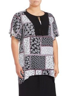JONES NEW YORK Plus Asymmetric Printed Blouse