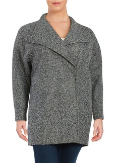 JONES NEW YORK PLUS Plus Marled Wool-Blend Oversized Collar Pea Coat