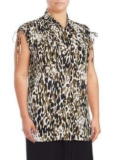 JONES NEW YORK Plus Printed High-Low Sleeveless Blouse