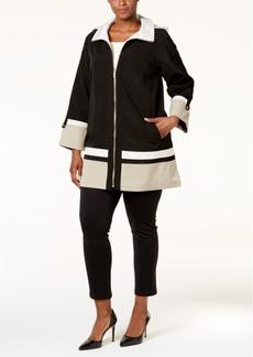 Jones New York Plus Size Colorblocked A-Line Coat