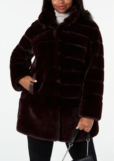 Jones New York Plus Size Faux-Fur Coat with Faux-Leather-Trim