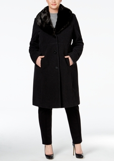 Jones New York Plus Size Faux-Fur Collar Walker Coat