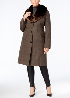 Jones New York Plus Size Faux-Fur-Collar Walker Coat