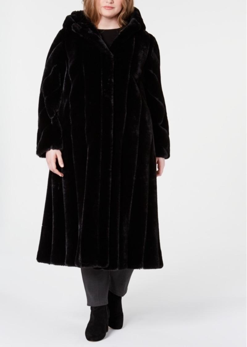 Jones New York Plus Size Hooded Faux-Fur Maxi Coat