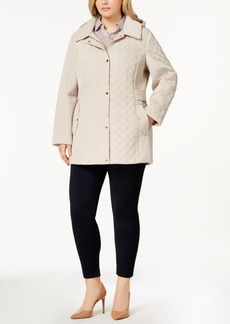 Jones New York Plus Size Hooded Quilted Coat