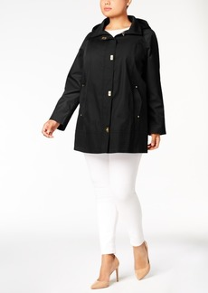 Jones New York Plus Size Hooded Turn-Lock Raincoat