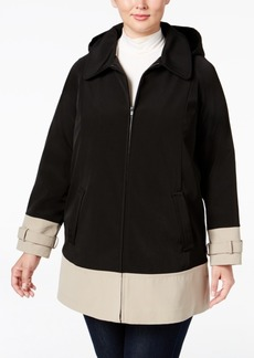 Jones New York Plus Size Hooded Water-Resistant Colorblocked Raincoat