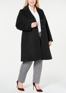 Jones New York Plus Size Notch-Collar Walker Coat
