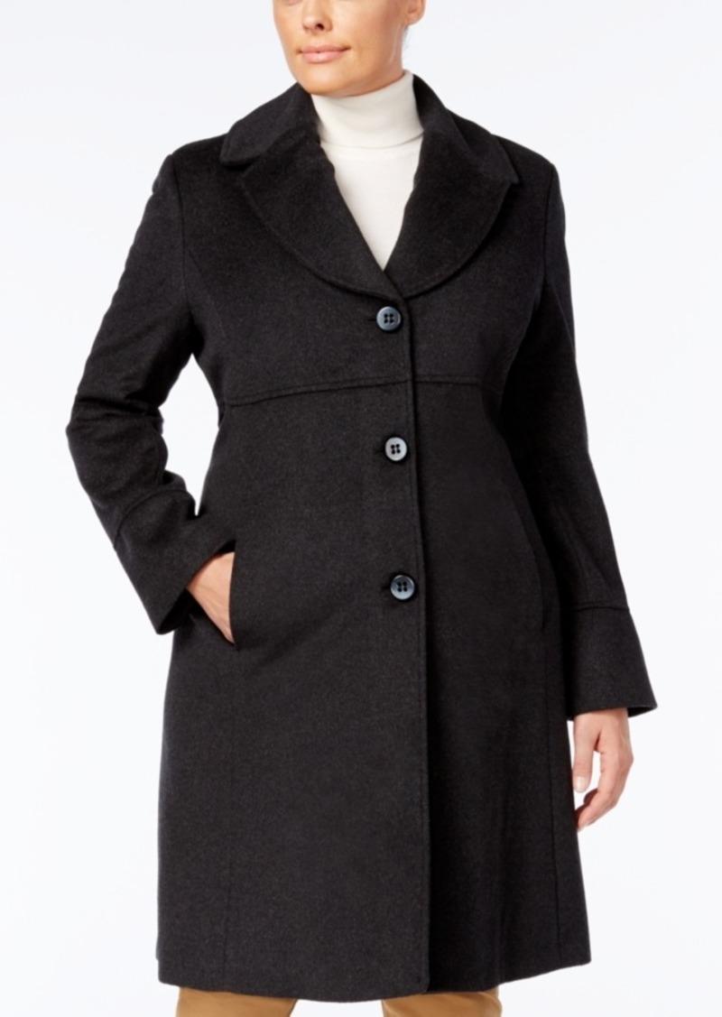 Plus Size Notched Shawl-Collar Walker Coat