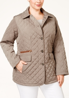 Jones New York Plus Size Packable Faux-Leather-Trim Quilted Barn Jacket