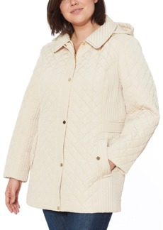 Jones New York Plus Size Water-Resistant Quilted Hooded Jacket