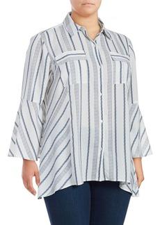 JONES NEW YORK Plus Stripe Bell-Sleeve Blouse
